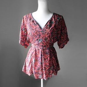 MAEVE silk kimono rose floral dress blouse top m
